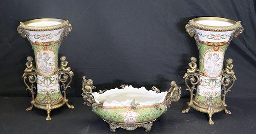 3 Piece Bronze Mounted Porcelain Garniture Set.