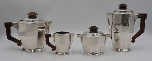 SILVER. Signed 4 Pc. French .950 Silver Tea Set.