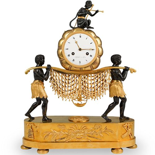 19th Cent French Empire Gilt Bronze Mantel Clock
