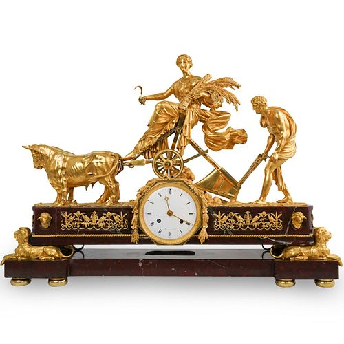 Rare 19th Ct. Gilt Bronze & Red Griotte Marble Mantle Clock