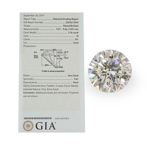 GIA Round Brilliant 3.36 Carat Diamond