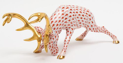 "Herend ""Reindeer"" Fishnet Porcelain Figure"