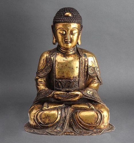 Chinese Gilt Copper Figure Of Buddha Shakyamuni