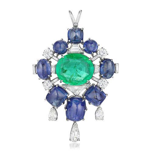 Emerald Sapphire and Diamond Pendant/Brooch