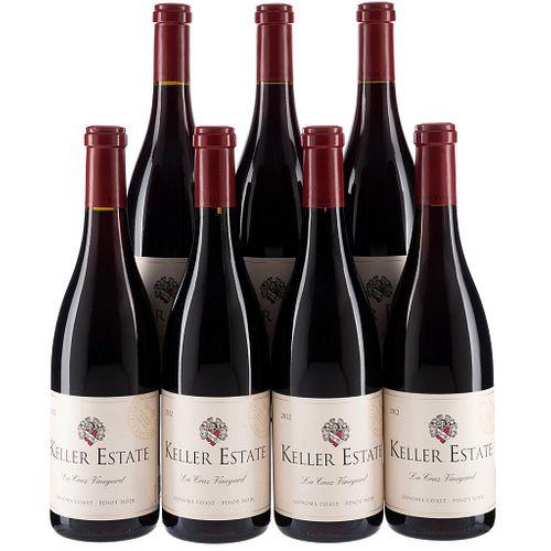 Keller Estate. Cosecha 2012. California. Pinot Noir. Niveles: una a 1.6 cm., tres a 1.7 cm. y tres a 2 cm. Piezas: 7.