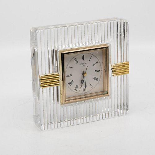 20TH CENTURY Christian Dior BRASS MOUNTED CRYSTAL CLOCK