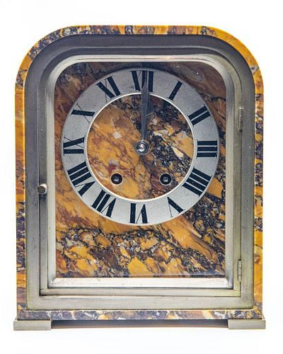 French Art Deco Marble & Bronze Mantel Clock
