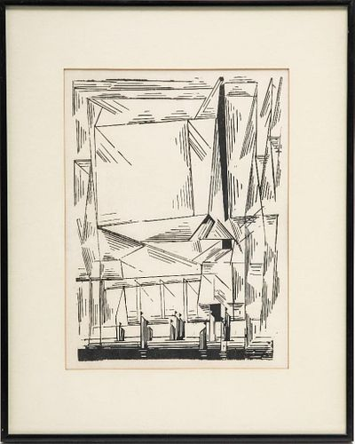 20th Century Lyonel Feininger woodblock