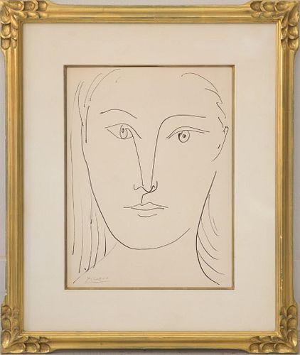 Pablo Picasso ink sketch Juene Femme, signed