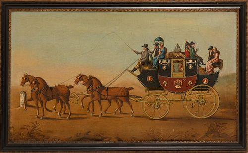 London to Exeter Stagecoach Oil on canvas