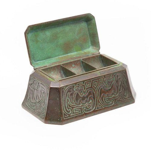 Tiffany Studios Bronze Chinese Pattern Coin Holder