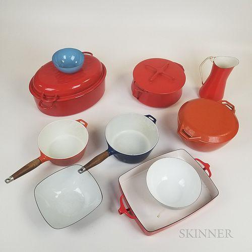 Ten Pieces of Scandinavian and Danish Enameled Metal Cookware