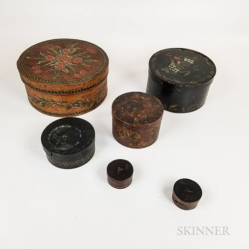 Six Paint-decorated Round Pantry Boxes