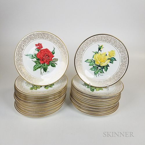 Thirty-eight Boehm Bird- and Floral-decorated Porcelain Plates