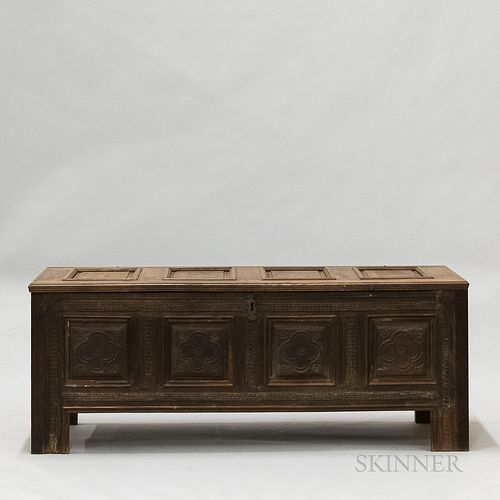 Continental Paneled and Carved Fruitwood Coffer