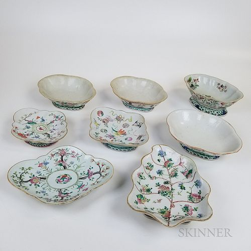 Eight Chinese Famille Rose Shaped Porcelain Bowls