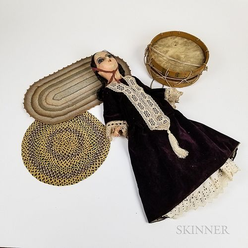 Painted Composition Doll, Two Miniature Rugs, and a Drum
