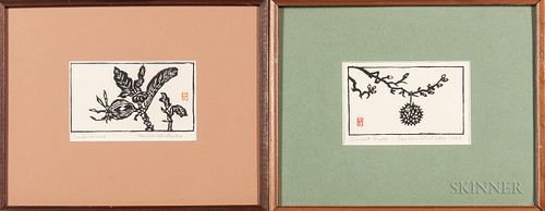 Un-ichi Hiratsuka (1895-1997), Two Ink Woodblock Prints
