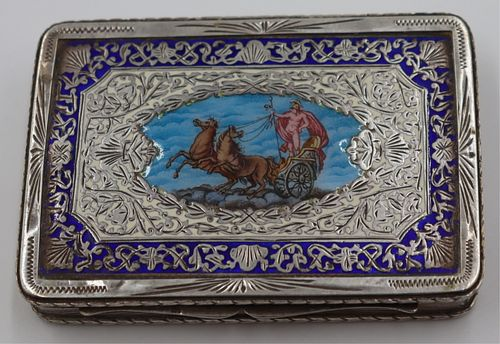 SILVER. Continental .800 Silver and Enamel Box.