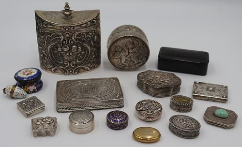 SILVER. Grouping of Small Decorative Boxes.