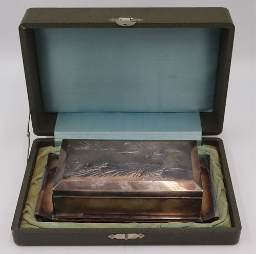 SILVER. Japanese Silver Box on Stand.