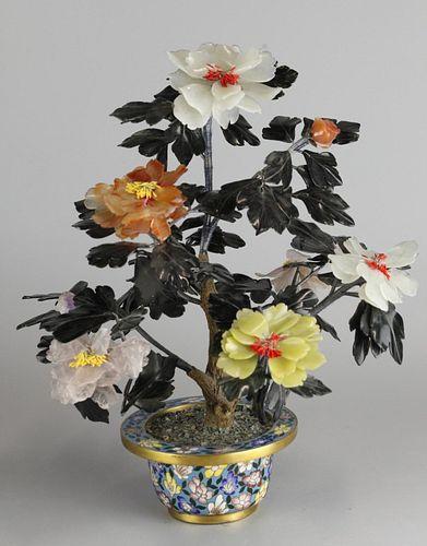 Chinese bonsai jade/stone flower tree