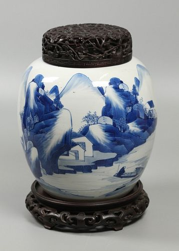Chinese blue & white porcelain jar, possibly 18th c.