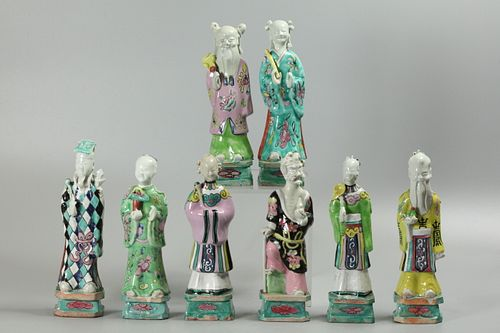set of 8 Chinese multicolor porcelain immortals, possibly Qianlong period