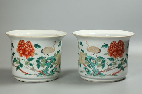 pair of Chinese porcelain planters, possibly 19th c.