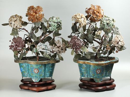 pair of Chinese bonsai flower trees, possibly Republican period