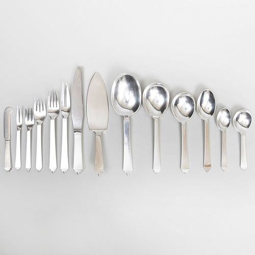 Georg Jensen Silver Partial Flatware Service, in the 'Pyramid' Pattern
