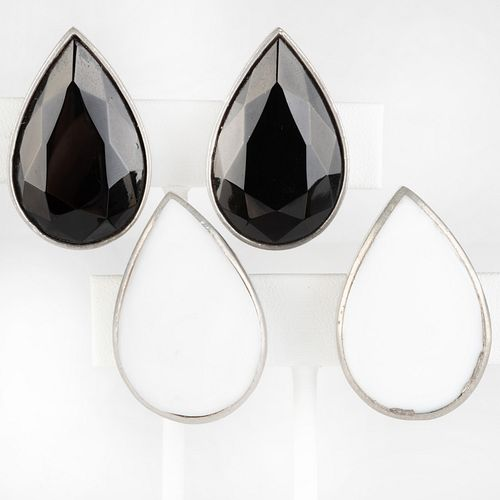 Two Pairs of Tess Design Silver, Black Crystal and White Stone Earclips