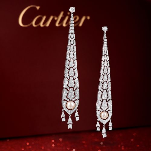 Cartier Evasions Joaillieres Diamond and Cultured Pearl Earrings