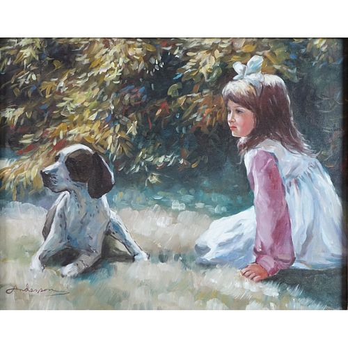"""20th C. O/C """"Young Girl with Dog"""""""