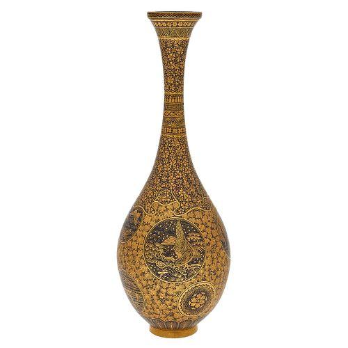 Japanese Inlaid Iron Miniature Vase, By Komai Workshop of Kyoto
