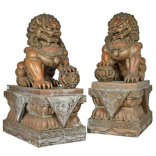 Pair of Massive Bronze Buddhist Lions, Republic period