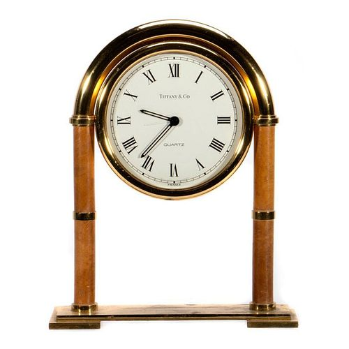 Tiffany & Co. Brass Desk Mantle Clock - Swiss made quartz movement, battery operated.