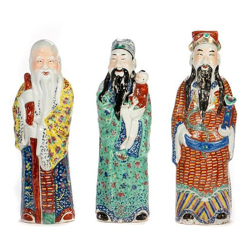 Late 19th century famille rose standing immortals