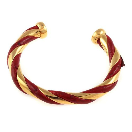 Vintage Hermes gold tone, red leather cuff bracelet