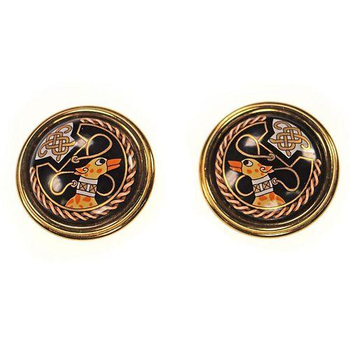 Hermes gold tone enamel clip earrings