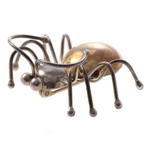 Artie Yellowhorse 14k gold & sterling bug brooch