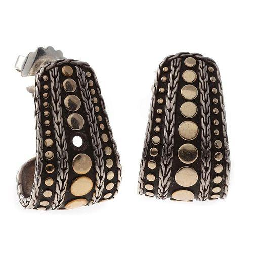 John Hardy sterling silver and 18k gold earrings