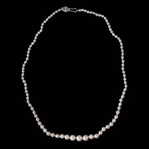Graduated cultured pearl & 10k white gold necklace