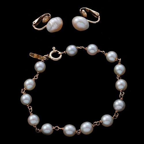Cultured pearl, gold bracelet and clip earrings