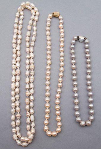 Three baroque cultured pearl necklaces
