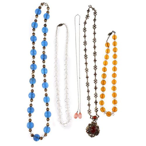 Five vintage beaded, silver and metal necklaces