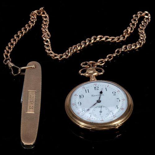 Hamilton 14k gold open face pocketwatch