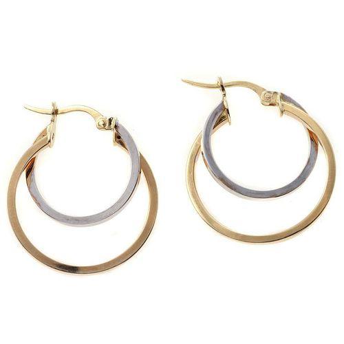 Pair of 14k bicolor hoop earrings
