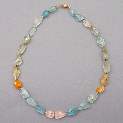 Faceted semi-precious bead and 14k gold necklace