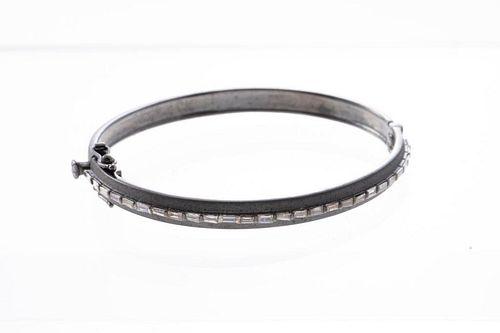 Diamond and blackened silver bangle bracelet